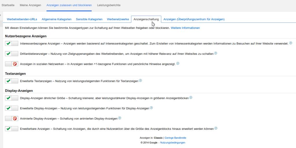 Erweiterte Konfigurationsmöglichkeiten für Google Adsense