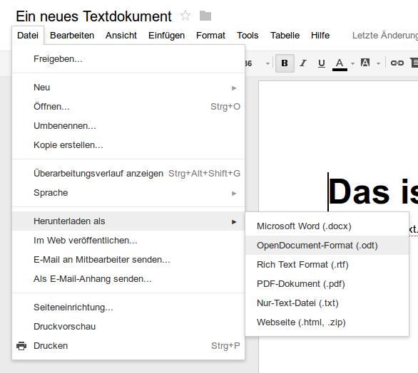 """In """"Google Docs"""" erstellte Dateien als ODF exportieren"""