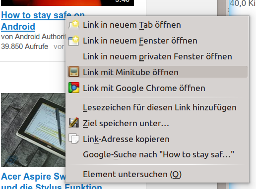 Firefox: Youtube-Links in externem Programm (z  B  Minitube